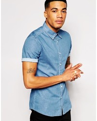 Asos Brand Skinny Denim Shirt With Short Sleeves In Mid Wash