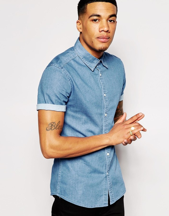 Asos Brand Skinny Denim Shirt With Short Sleeves In Mid Wash ...