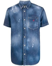 DSQUARED2 Distressed Short Sleeved Denim Shirt
