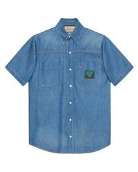 Gucci Logo Patch Short Sleeved Denim Shirt