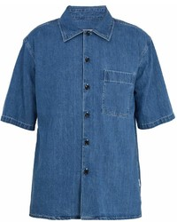 Point collar short sleeved denim shirt medium 6978845