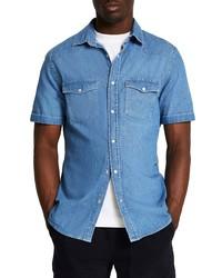 River Island Western Slim Fit Short Sleeve Denim Shirt