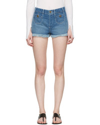 Chloé Blue Denim Cut Off Shorts