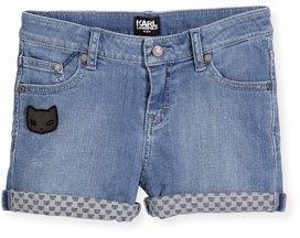 Karl Lagerfeld Cat Detail Stretch Denim Shorts Light Blue Size 4 5