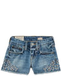 Ralph Lauren Childrenswear Denim Cutoff Eyelet Shorts Blue Size 5 6x