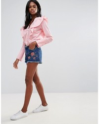 Vila Dark Wash Embroidered Denim Shorts