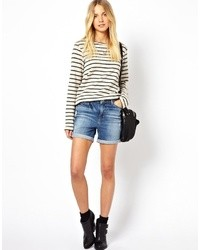 Vero Moda Denim Shorts With Turn Up Blue