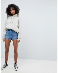 Asos Design Denim High Waist Hot Pants In Midwash Blue