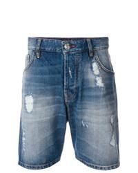 Philipp Plein Distressed Denim Shorts