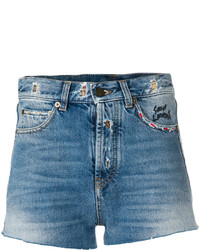 Saint Laurent Distressed Trim Denim Shorts