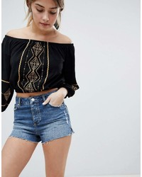 Miss Selfridge Frayed Hem Mom Denim Shorts