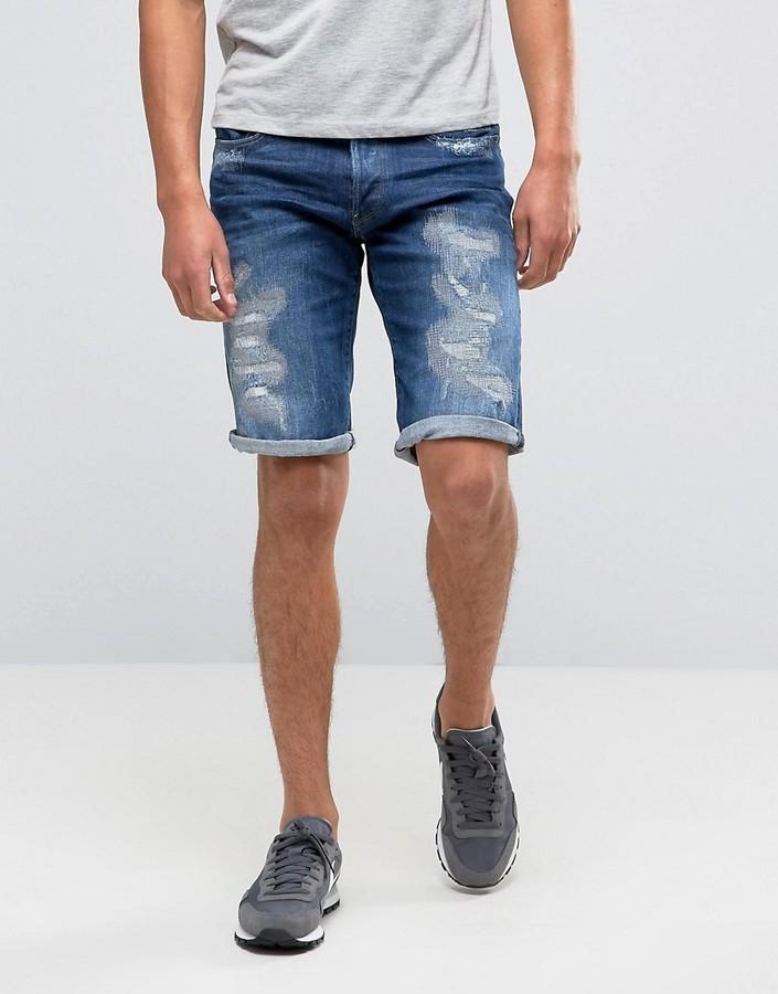 b438b4aab94 ... Blue Denim Shorts G Star G Star 3301 Tapered Shorts With Abrasions ...