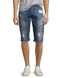 True Religion Geno Moto Denim Cutoff Shorts Blue