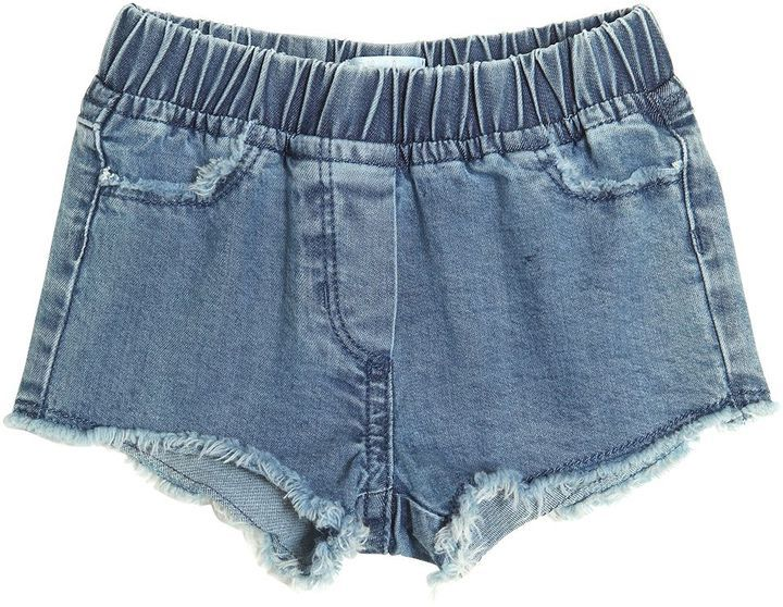Il Gufo Frayed Light Cotton Denim Shorts