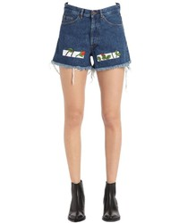 Off-White Roses Embroidered Cotton Denim Shorts