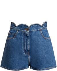 Valentino Scallop Edged Denim Shorts