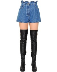 Valentino Scalloped Waist Cotton Denim Shorts