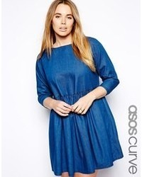 Asos curve curve smock dress in denim blue medium 57356