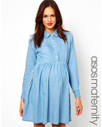 Asos Maternity Denim Smock Shirt Dress