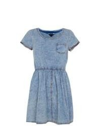 Exclusives New Look Blue Denim Cap Sleeve Skater Dress