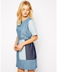 Just Female Joi Tencel Denim Dress Patched Blue