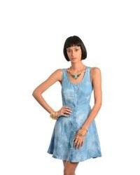 Overstock Feellib Blue Denim Sleeveless Cut Out Back Dress