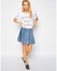 Noisy May Denim Look Skater Skirt With Drawstring Waist Light Blue Denim