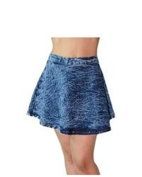 Soho Girl Acid Wash Denim Skater Skirt L