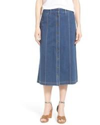 NYDJ Carly Button Front Denim Midi Skirt