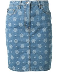 Love Moschino Embossed Straight Denim Skirt