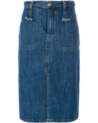 See by Chloe See By Chlo Long Denim Skirt With Braided Belt Loops