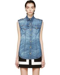 Balmain Blue Denim Sleeveless Shirt
