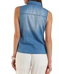 Charlotte Russe Sleeveless Knotted Chambray Shirt