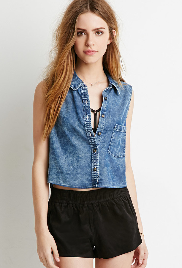2a96b887fdb16 Forever 21 Denim Pocket Shirt