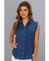 G star lancer boyfriend fit sleeveless shirt in onis denim dark aged medium 74545
