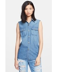 The perfect shirt sleeveless denim shirt medium 74544