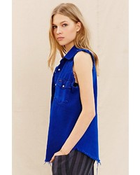 UO Urban Renewal Recycled Sleeveless Denim Shirt
