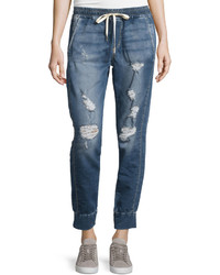 Joe's Jeans Distressed Denim Jogger Pants Rubina Blue