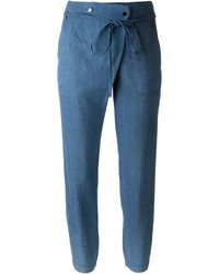 Vince Tie Waist Jogger Denim Effect Tapered Trousers