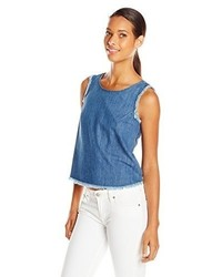 7 For All Mankind Denim Tank With Raw Edge And Zips