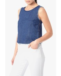 7 For All Mankind Denim Tank With Raw Edges And Zips In Americana Blue