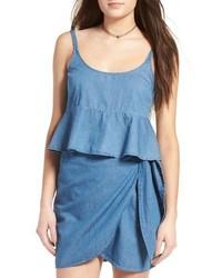 Rosie Huntington-Whiteley wearing Blue Denim Tank, White Denim ... bec23a3fe1