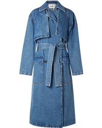 MSGM Oversized Denim Trench Coat