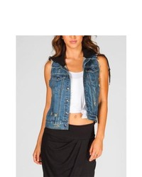 Others Follow Carl Hooded Denim Vest Denim In Sizes X Large Small Medium X Small Large For 217654800