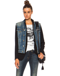 R 13 R13 Layered Denim Vest Wool Jacket