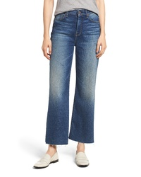 7 For All Mankind Alexa Frayed Hem Crop Wide Leg Jeans