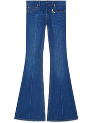 Gucci Embroidered Denim Flare Pant