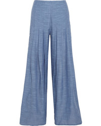 Meidy split side cotton chambray wide leg pants light denim medium 3947374
