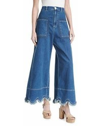 See by Chloe Scallop Hem Denim Trousers