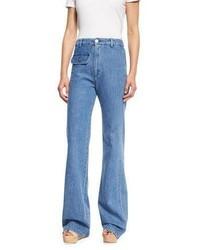 See by Chloe Stretch Denim High Rise Flare Jeans Washed Indigo